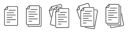 Set of various paper documents icons. Linear File icons. Paper icons. Vector illustration.