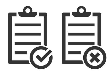 Black Checklist icon isolated. Vector Checklist symbol in flat design. Approval document linear icon