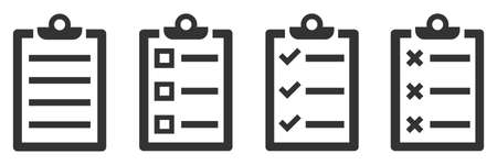 Set of paper document icons. Vector illustration. Checklist icons in flat linear design. Approval document icon isolated.