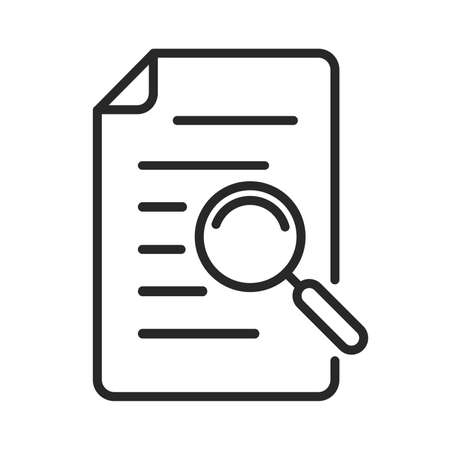 Documents icon with magnifying glass. Search icon isolated. File search concept. Vector illustration. Magnifier icon