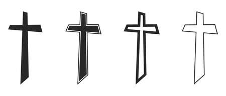 Set of Christian Cross icons. Vector Crosses icons isolated. Vector illustration. Various black religion Crosses. 版權商用圖片 - 155512023