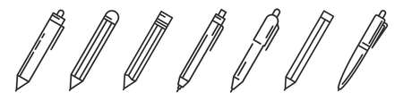 Pens and pencils isolated. Writing tools icons set. Vector illustration. Linear templates of ballpens and pencils 向量圖像