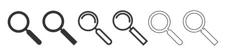 Vector magnifying glass icons. Vector illustration. Loop icons set isolated. Search concept 向量圖像