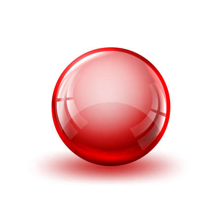 Red glossy ball with shadow. Glass ball isolated. Vector illustration. 3d realistic glass ball