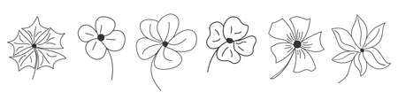 Set of flowers in thin line style. Linear flowers icons. Outline flowers isolated. Vector illustration. 向量圖像