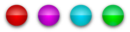 Round glossy buttons. Abstract buttons with shadow. Vector illustration. Color bright buttons isolated 向量圖像