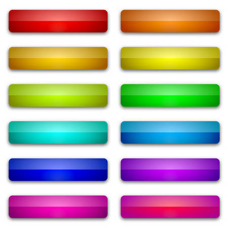 Web glossy buttons. Abstract buttons with shadow. Vector illustration. Color bright buttons isolated 向量圖像