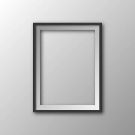 Square frame with shadow. Vector illustration. Hanging picture frame isolated. 3D picture frame 向量圖像