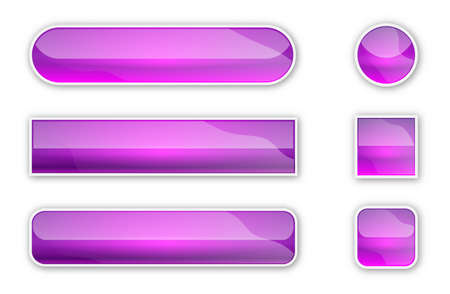 Web glossy buttons. Set of abstract buttons with shadow. Vector illustration. Bright purple buttons isolated 向量圖像