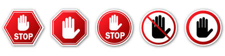 STOP hand signs set. Red stop sign with shadow. Vector illustration. Warning signs isolated