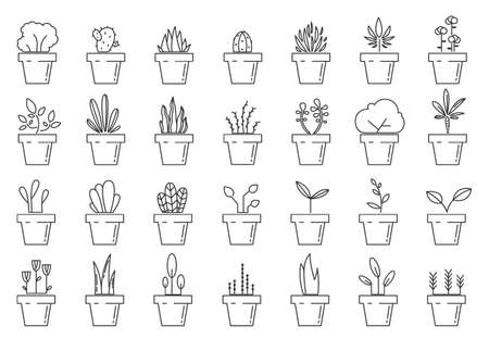 Flowerpot linear icons. Set of floral plants in pots. Plant in pot isolated. Houseplant icons. Vector illustration 版權商用圖片 - 155512222