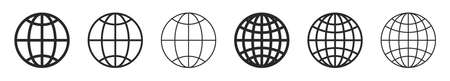 Globe flat icons. Vector illustration. Symbol of Earth. Linear planet icons set. World symbol isolated 版權商用圖片 - 155512230