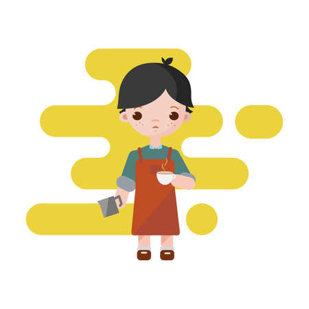 Cute little barista. Boy barista isolated. Vector illustration. Barista boy with a milk cup to coffee in hands. 向量圖像