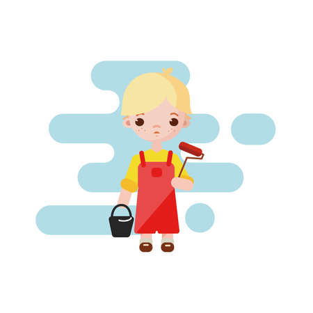 Cute little Boy painter. Boy painter isolated. Vector illustration. Painter boy with paint roller in hand