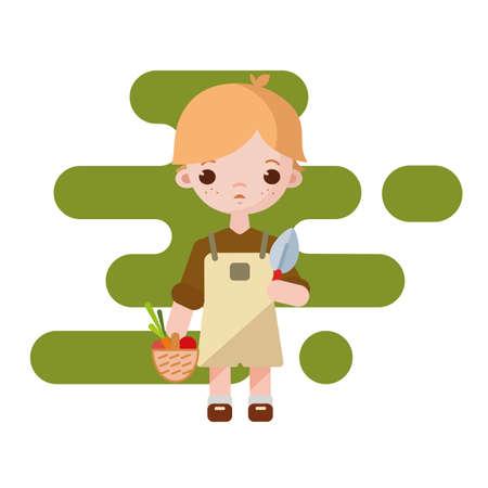 Cute little farmer boy. Farmer boy isolated. Vector illustration. Gardener boy with vegetables in hands.