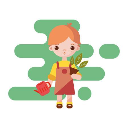 Cute little gardener boy. Boy gardener isolated. Vector illustration. Gardener boy with flower pot in hand 向量圖像