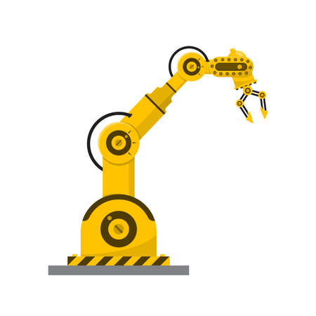 Robot arm on white background. Mechanical hand. Vector illustration. Modern technical manipulator at the factory. 版權商用圖片 - 156041710