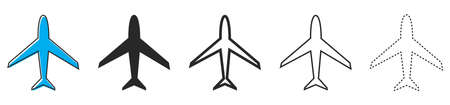 Aircraft icons. Set of airplanes on white background. Vector illustration. Various of black plane icons.