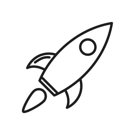 Rocket icon isolated. Vector illustration. Linear rocket icon in flat design