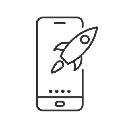 Phone with rocket icon. Vector illustration. Linear phone icon in flat design