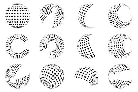 Set of dotted circles. Halftone effect design elements. Black halftone effects circles. Vector illustration. 版權商用圖片 - 156067003