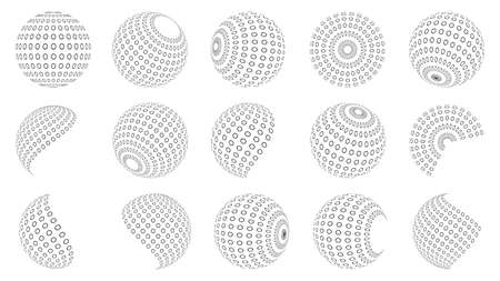 Set of dotted circles. Halftone effect design elements. Black halftone effects circles. Vector illustration. 版權商用圖片 - 156067006