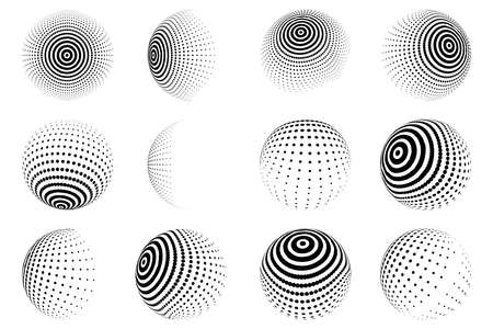Halftone effect design elements. Black halftone effects circles. Set of dotted circles. Vector illustration.