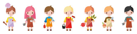 Different professions are represented by cute children. Vector illustration. Little children representing different occupations
