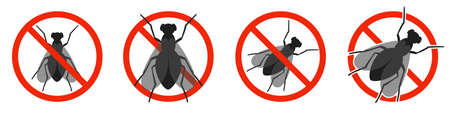The Fly with red ban sign. STOP Fly sign isolated. Set of no fly icons. Vector illustration.