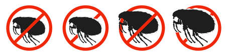 The Louse with red ban sign. STOP Louse sign isolated. Set of kill louse icons. Vector illustration. 版權商用圖片 - 156067011