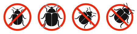 The colorado beetle with red ban sign. STOP colorado beetle sign isolated. Set of kill colorado beetle icons. Vector illustration.
