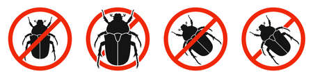 The Chafer with red ban sign. STOP chafer beetle sign isolated. Kill beetles icons set. Vector illustration. 版權商用圖片 - 156067014