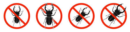 The stag beetle with red ban sign. STOP stag beetle beetle sign isolated. Set of no kill of stag beetle icons. Vector illustration. 向量圖像