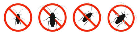 The cockroach with red ban sign. STOP cockroach sign isolated. Set of kill of cockroach icons. Vector illustration. 版權商用圖片 - 156067018
