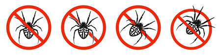The spider with red ban sign. STOP spider sign isolated. Spider killing icons set. Vector illustration. 版權商用圖片 - 156067016