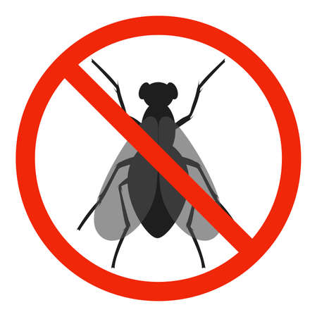 The Fly with red ban sign. STOP Fly sign isolated. No fly icon. Vector illustration. 向量圖像