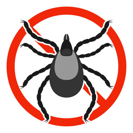 The Mite parasite with red ban sign. STOP Mite sign isolated. Anti mite parasite icon. Vector illustration.