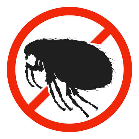 The Louse with red ban sign. STOP Louse sign isolated. Forbid Louse icon. Vector illustration. 向量圖像
