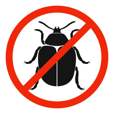 The colorado beetle with red ban sign. STOP colorado beetle sign isolated. Forbid colorado beetle icon. Vector illustration.