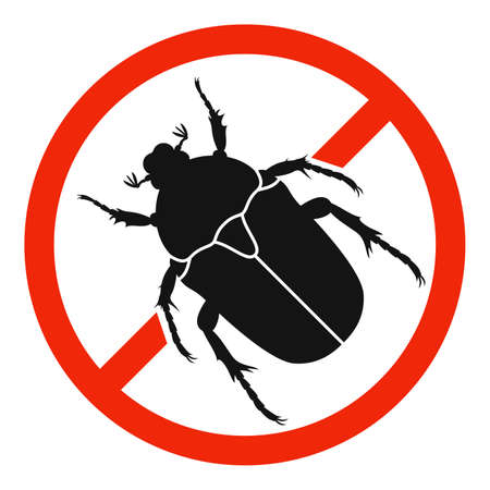 The Chafer with red ban sign. STOP chafer beetle sign isolated. Forbid chafer icon. Vector illustration. 向量圖像