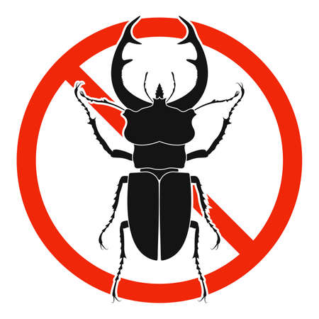 The stag beetle with red ban sign. STOP stag beetle beetle sign isolated. Forbid stag beetle icon. Vector illustration. 版權商用圖片 - 156067069