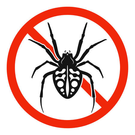 The spider with red ban sign. STOP spider sign isolated. Forbid spider icon. Vector illustration. 版權商用圖片 - 156041593