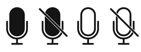 Microphone icon. Black microphone sign. No Microphone sign. Microphone forbidden sign. Vector illustration. 版權商用圖片 - 156040792