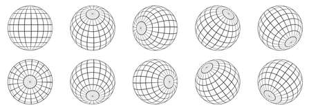 3d spheres globe earth. Globe icons in different angles. Vector illustration. Isolated linear globe grid Ilustración de vector
