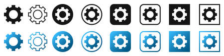 Gear icons set. Setting icons isolated on white background. Vector illustration. Cogwheel icon