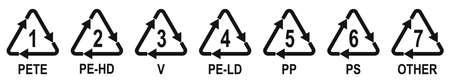 Marking codes of plastic packaging materials. Plastic recycling symbols different types. Vector illustration. Industrial marking plastic products Vectores