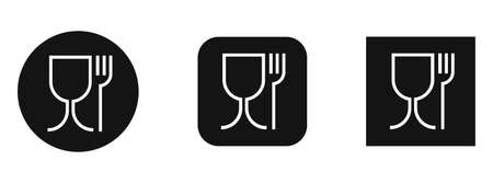 Food grade plastic. Vector signs isolated. Food safe material. Wine glass and fork symbol
