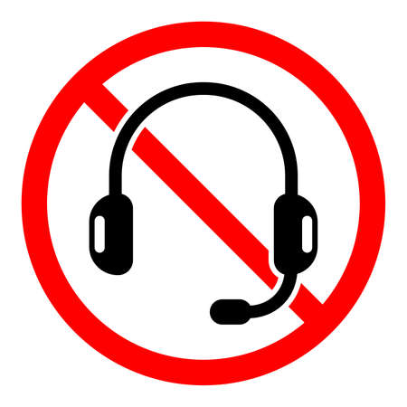 Headphones are forbidden. Vector illustration. No headphones sign on white background. Stop headphones icon isolated