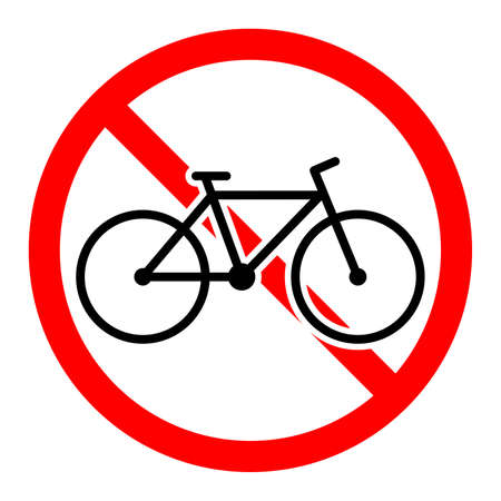 Bicycle are forbidden. Stop bicycle icon. Vector illustration. No bicycle entry Ilustrace