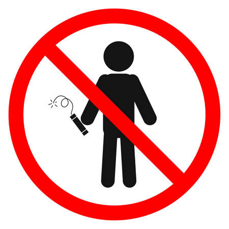 Dynamite is forbidden. Dynamite in a man's hand. Stop or ban red round sign with dynamite icon. Vector illustration. Explosion prohibition